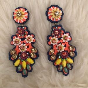 J. Crew embroidered crystal earrings